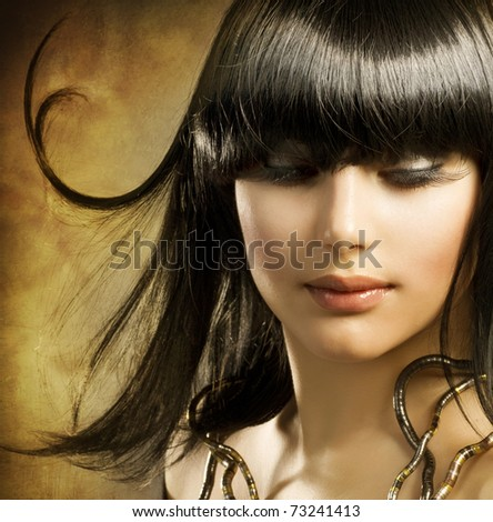 Beautiful Brunette.Egyptian Style - stock photo