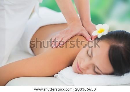 Beautiful brunette enjoying a back massage at a luxury spa - stock photo