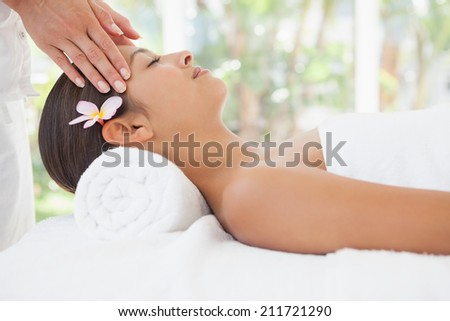 Beautiful brunette enjoying a head massage at the health spa - stock photo