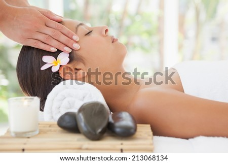 Beautiful brunette enjoying a head massage at the health spa