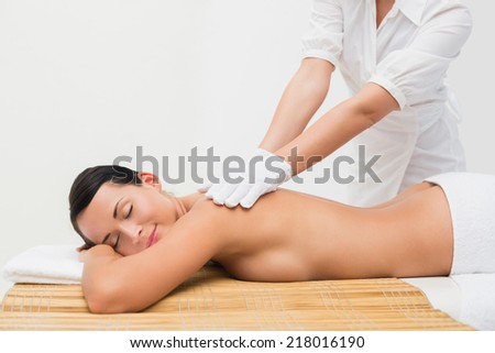 Beautiful brunette enjoying an exfoliating back massage in the health spa - stock photo