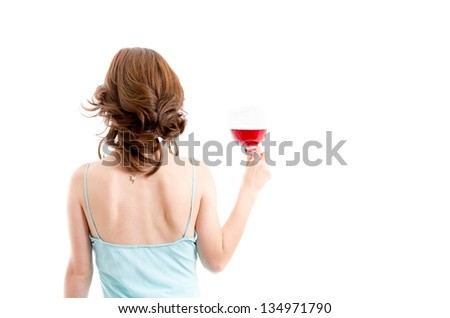 Beautiful brunette girl drinking red wine isolated - stock photo