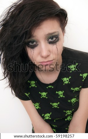 Beautiful Brunette Girl Emo Crying - stock photo