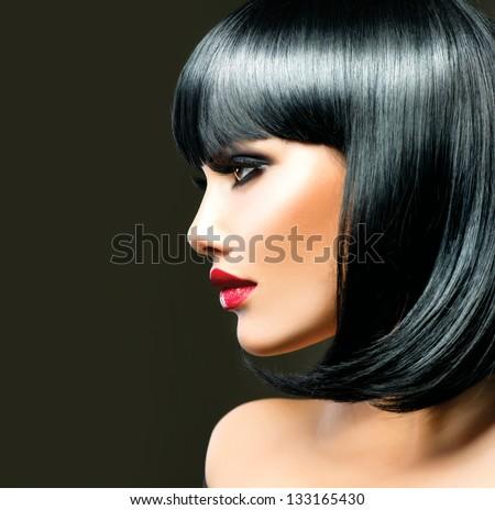 Beautiful Brunette Girl. Healthy Black Hair. Haircut - stock photo