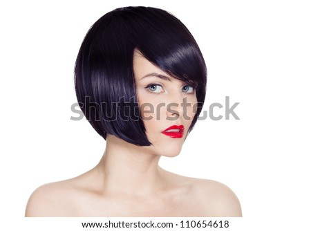 Beautiful Brunette Girl.Healthy Hair.Hairstyle. - stock photo