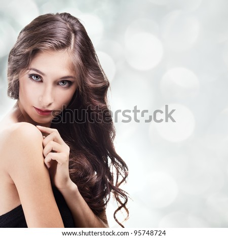 Beautiful Brunette Girl. Healthy Long Hair - stock photo