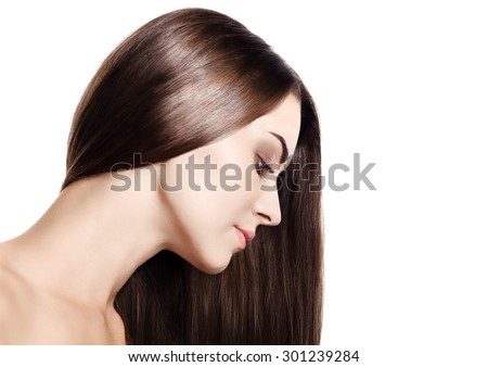 Beautiful Brunette Girl. Healthy Long Hair. Beauty Model Woman. Hairstyle - stock photo