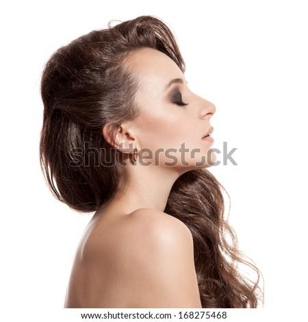 Beautiful Brunette Girl. Healthy Long Hair. White Background - stock photo