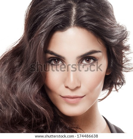 Beautiful Brunette Girl. Healthy Long Hair. White Background  - stock photo