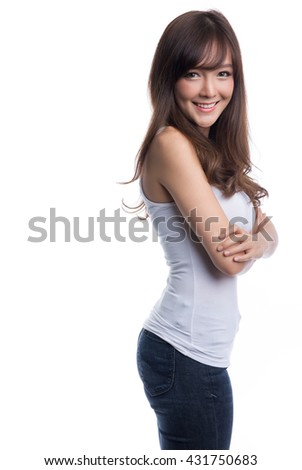 Beautiful brunette girl in jeans and white t-shirt smiling, isolated on white background, t-shirt design concept