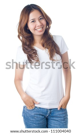 Beautiful brunette girl in jeans and white t-shirt smiling on white background - stock photo