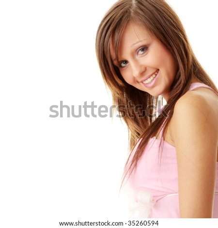 Beautiful brunette girl in sweet pink. Isolated on white background