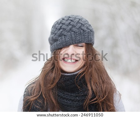 beautiful brunette girl in winter hat hipster - stock photo