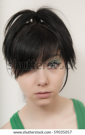 Beautiful Brunette Girl with hair lifted up - stock photo