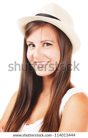 Beautiful brunette girl with hat, isolated on white background