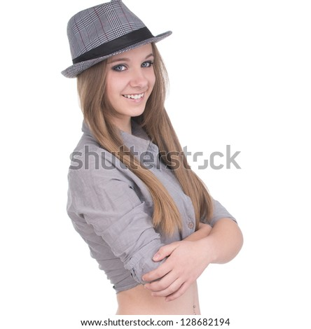 Beautiful brunette girl with hat, isolated on white background - stock photo
