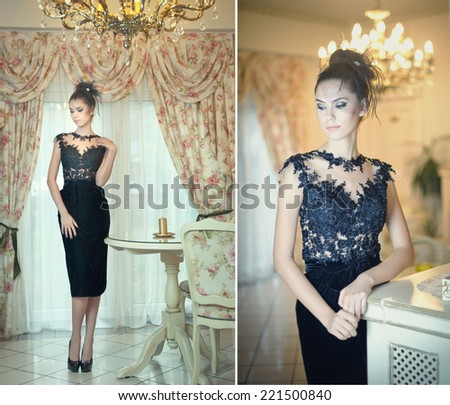 Beautiful brunette lady in elegant black lace dress posing in a vintage scene. Young sensual fashionable woman on high heels in luxury interior. Attractive slim girl near white furniture, indoor shot  - stock photo