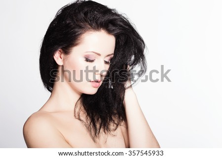 beautiful brunette model with tousled hair