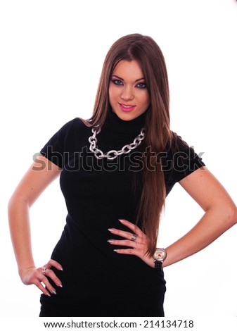 Beautiful brunette posing on the white background - stock photo
