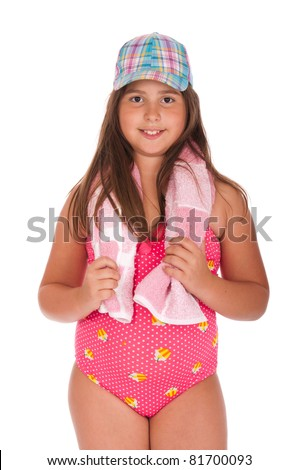beautiful brunette teenage girl in swimsuit ready for the beach or pool with cap and towel (isolated on white background) - stock photo