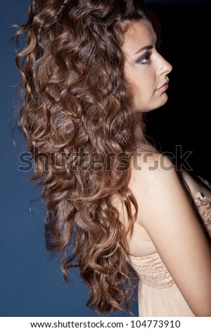 beautiful brunette with gorgeous curly hair