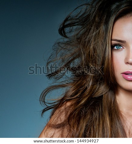 beautiful brunette with gorgeous  hair