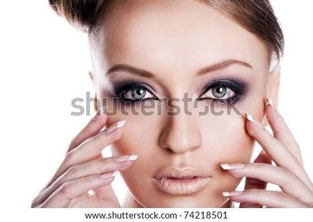 beautiful brunette with pretty big eyes - stock photo
