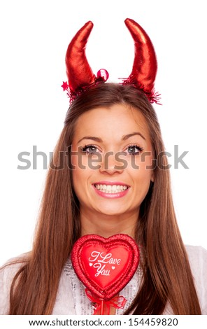 "Beautiful brunette with red devil horns and heart with words ""I Love You"", isolated on white - stock photo"