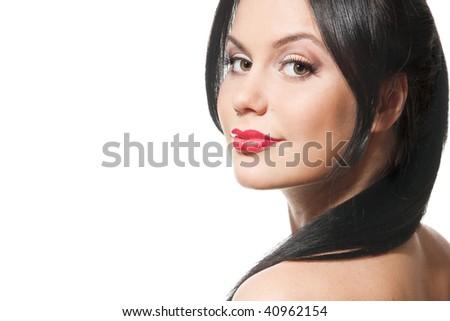 Beautiful brunette woman - stock photo