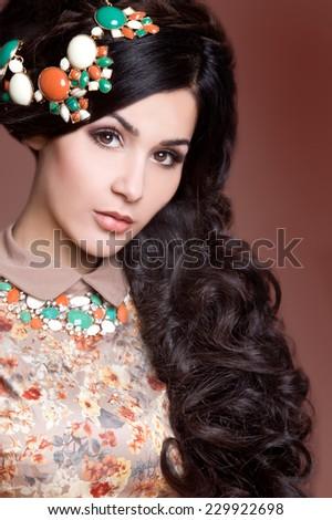 Beautiful brunette woman. Cuban beauty woman - stock photo