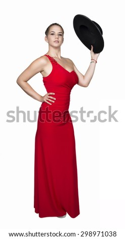 beautiful brunette woman dressed flamenco style on white - stock photo
