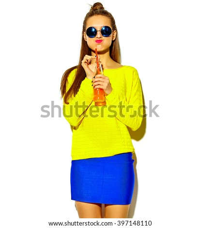 beautiful brunette woman girl in casual hipster summer clothes with no makeup isolated on white drinking cola from bottle with straw in sunglasses - stock photo