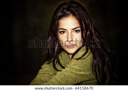 beautiful brunette woman night portrait, outdoor