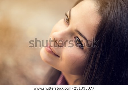 beautiful brunette woman portrait bokeh