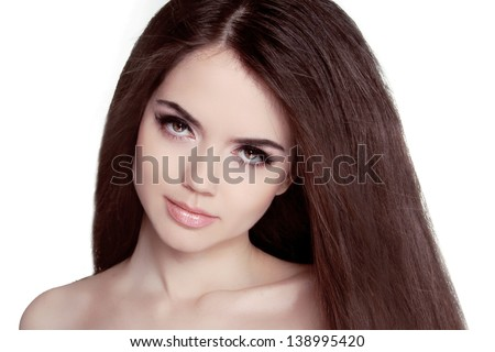 Beautiful Brunette Woman Portrait with healthy Hair. Clear Fresh Skin. Smiling Girl Isolated on a White Background. - stock photo