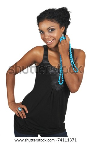 Beautiful brunette woman wearing party clothes and accessories smiling on white background