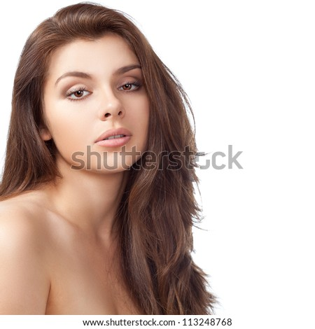 beautiful brunette woman with clear skin head portrait over white