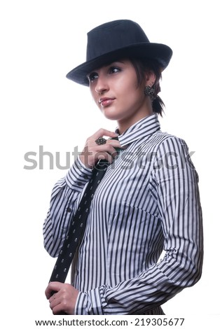 Beautiful brunette woman with hat. Isolated over white