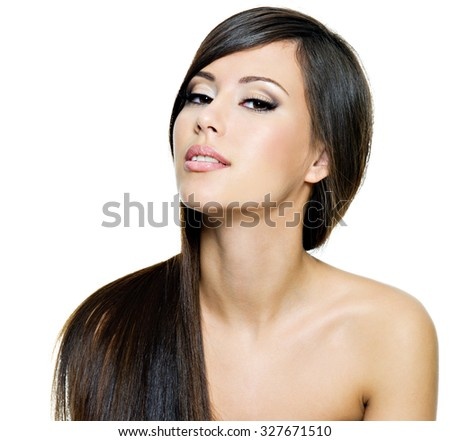 Beautiful brunette woman with long straight brown hair,  isolated on white background - stock photo