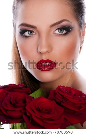 beautiful brunette woman with red rose on white background - stock photo