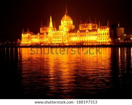Beautiful Budapest Parliament at night river attraction.