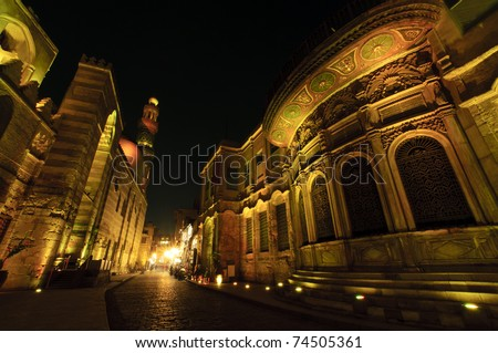 Beautiful buildings of Islamic Cairo at night. Cairo, Egypt