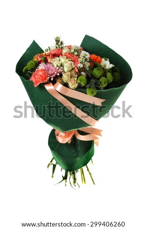 Beautiful Bunch of flowers. In paper packing .  isolated , white background.