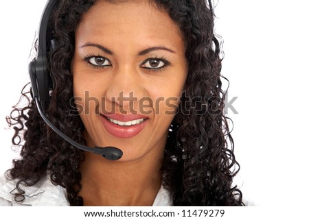 beautiful business customer service woman - smiling and wearing a headset isolated over a white background - stock photo
