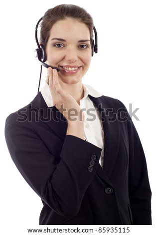 Beautiful business customer service woman - smiling isolated over white - stock photo