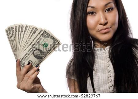 beautiful business lady shows - stock photo