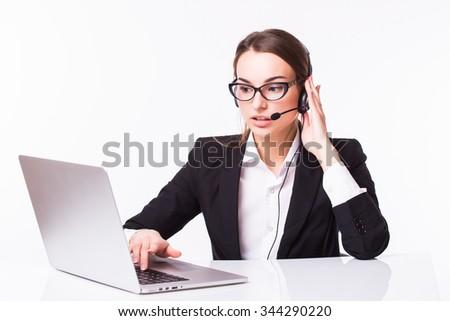 Beautiful business operator isolated on white background - stock photo