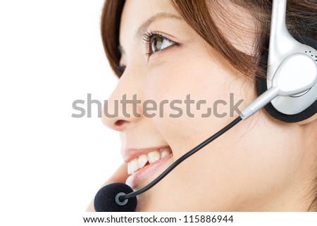 Beautiful business operator on white background. Portrait of asian. - stock photo