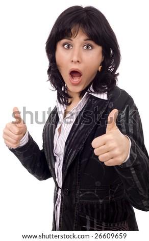 beautiful business woman astonished isolated - stock photo