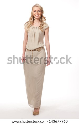 Beautiful Business Woman Blonde Fashion Model in summer clothes isolated on white